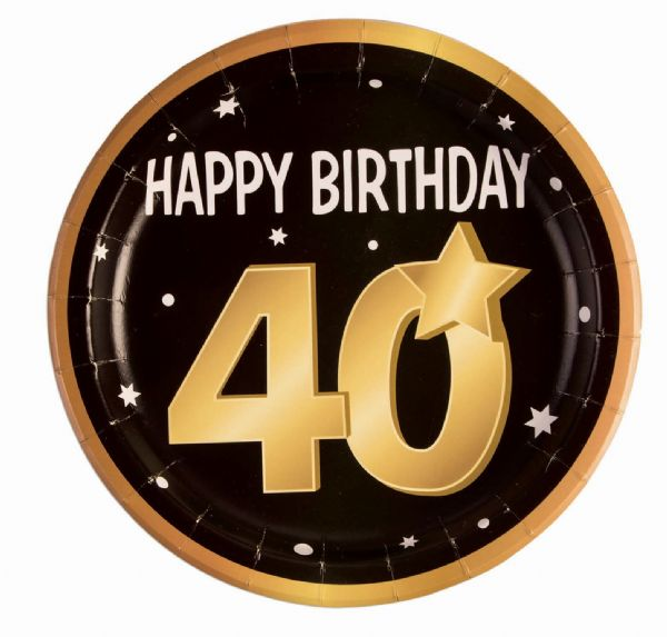 40th Birthday Paper Plates 9 (8 in pkt) Party Tableware